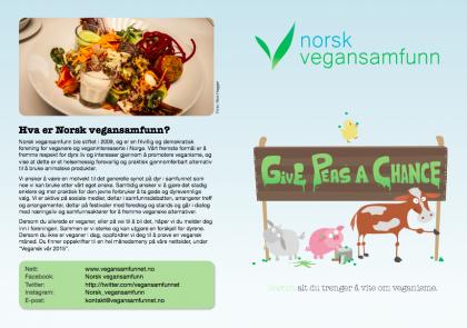 """Skjermdump av den første og siste siden i NVS' offisielle brosjyre. På forsiden er en gris, en ku, en sau og en kylling samlet rundt et skilt det står """"Give peas a chance"""" på. På siste side står en forklaring av hva Norsk vegansamfunn er."""