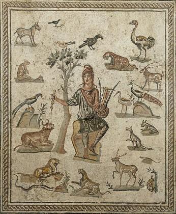 Orpheus og dyrene. Mosaikk.