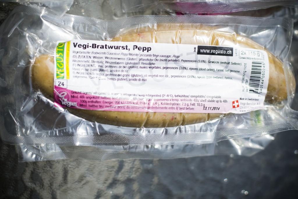 Vegi-Bratwurst pepp. Foto.