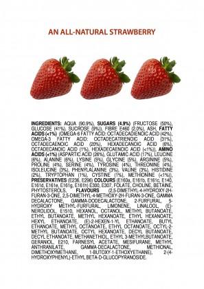 Bilde av tre jordbær på hvit bakgrunn. Under er det en innholdsfortegnelse som lister opp de forskjellige kjemikalske bestanddelene i et jordbær på samme måte som på emballasjen til andre dagligvarer.