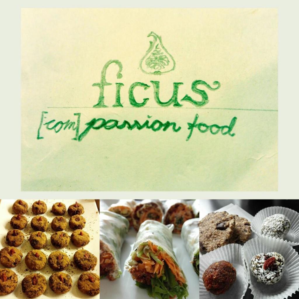 """Foto av logoen til Ficus: """"Ficus"""" skrevet med en serif-font med liten forbokstav i grønt. Over er det et tegnet et utsnitt av en halv fiken med samme penn/grønnfarge. Unders står følgende i  løkkeskrift: """"(com)passion food"""", også i samme grønnfarge og med samme penn."""