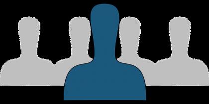 En figur med en blå skikkelse i forkant av fire grå skikkelser.
