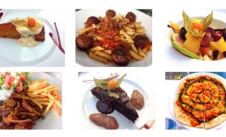 """Skjermdump fra nettsiden til Vegan weekend: Seks fotografier av forskjellig vegansk mat på hvite tallerkener, blant annet pizza, sjokoladekake, pommes frites og """"kjøttstrimler"""" og pasta med """"kjøttboller""""."""