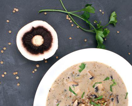 En sopp som ligger med undersiden oppe til venstre, to stilker frisk koriander oppe til høyre, hvit skål avskjært på midten nederst, med brun suppe med soppbiter i
