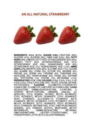 Plakat med bilde av tre jordbær. Under står en lang ingrediensliste, lik de som man finner på matvarer i butikken, over alle kjemikaliene som finnes naturlig i jordbær. ALt er på hvit bakgrunn, og plakaten er rektangulær og på høykant/avlang.