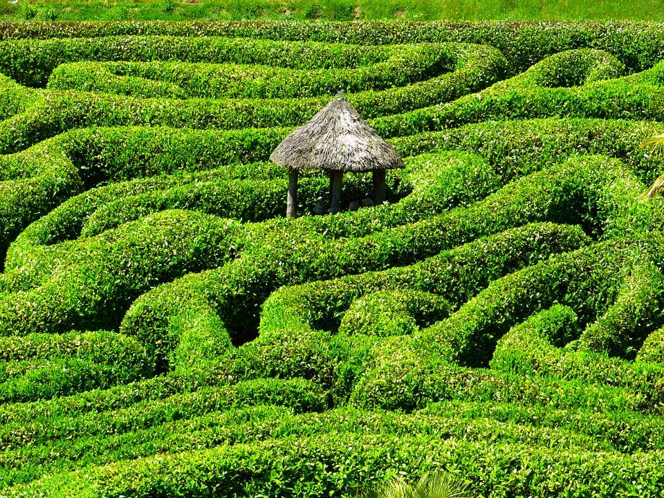 Fotografi av en frodig og grønn labyrint laget av hekker som snirkler seg i forskjellige retninger. I midten er en liten, enkel hytte med et tak av laget av strå.