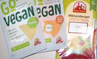 Fra venstre: Go'vegan original, Go'vegan cheddar og Wilmersburger original